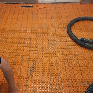 Laundry In-floor heat installation