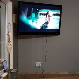 TV hung from newly installed brace
