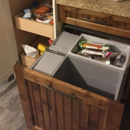 Installed Garbage and recycling cabinet