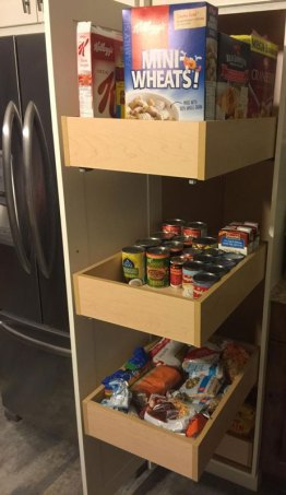 Completed Pantry cupboard with pull out drawers