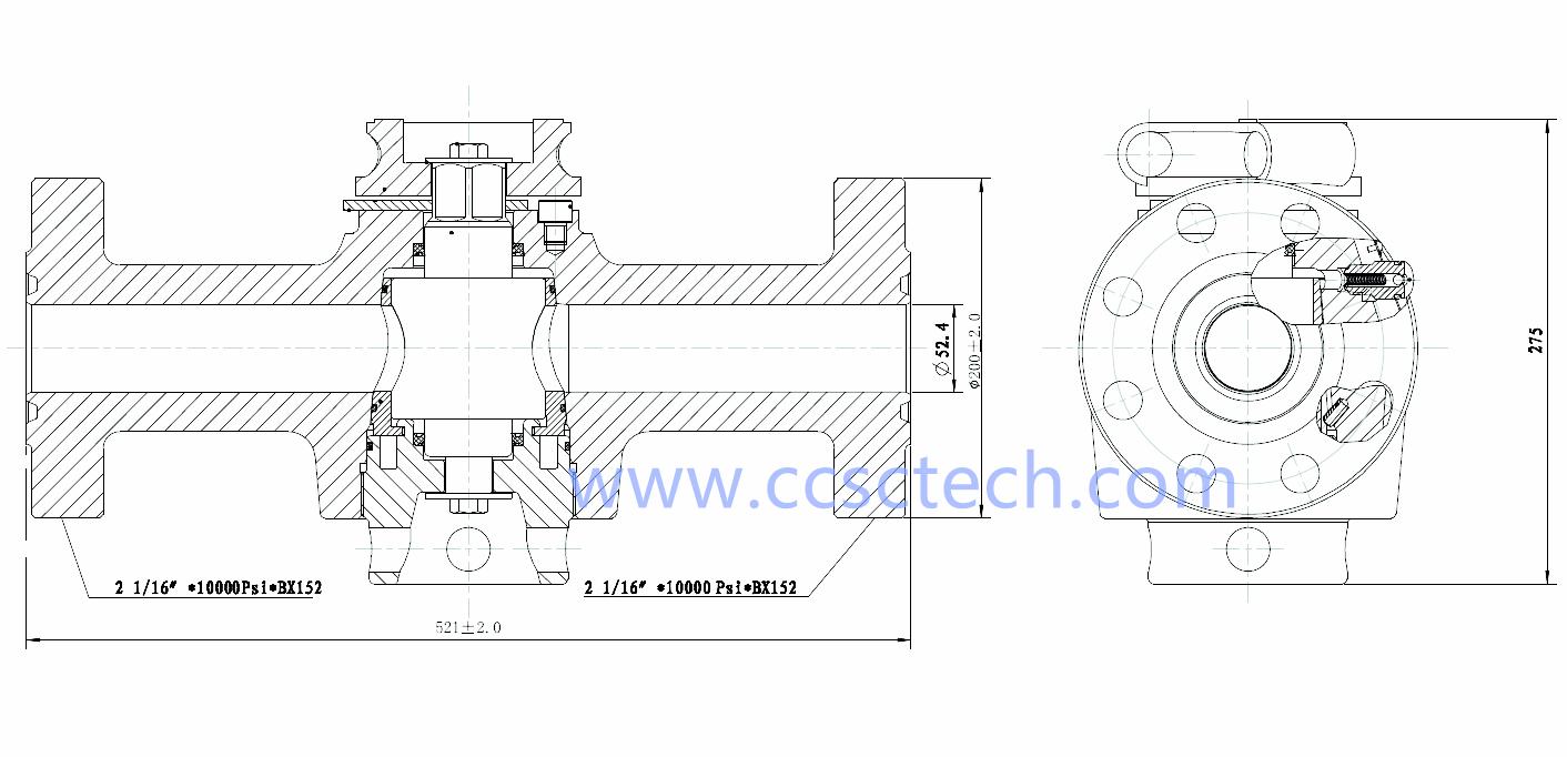 2-1-16 10K flanged wellhead plug valve-2-1-16 10K flanged