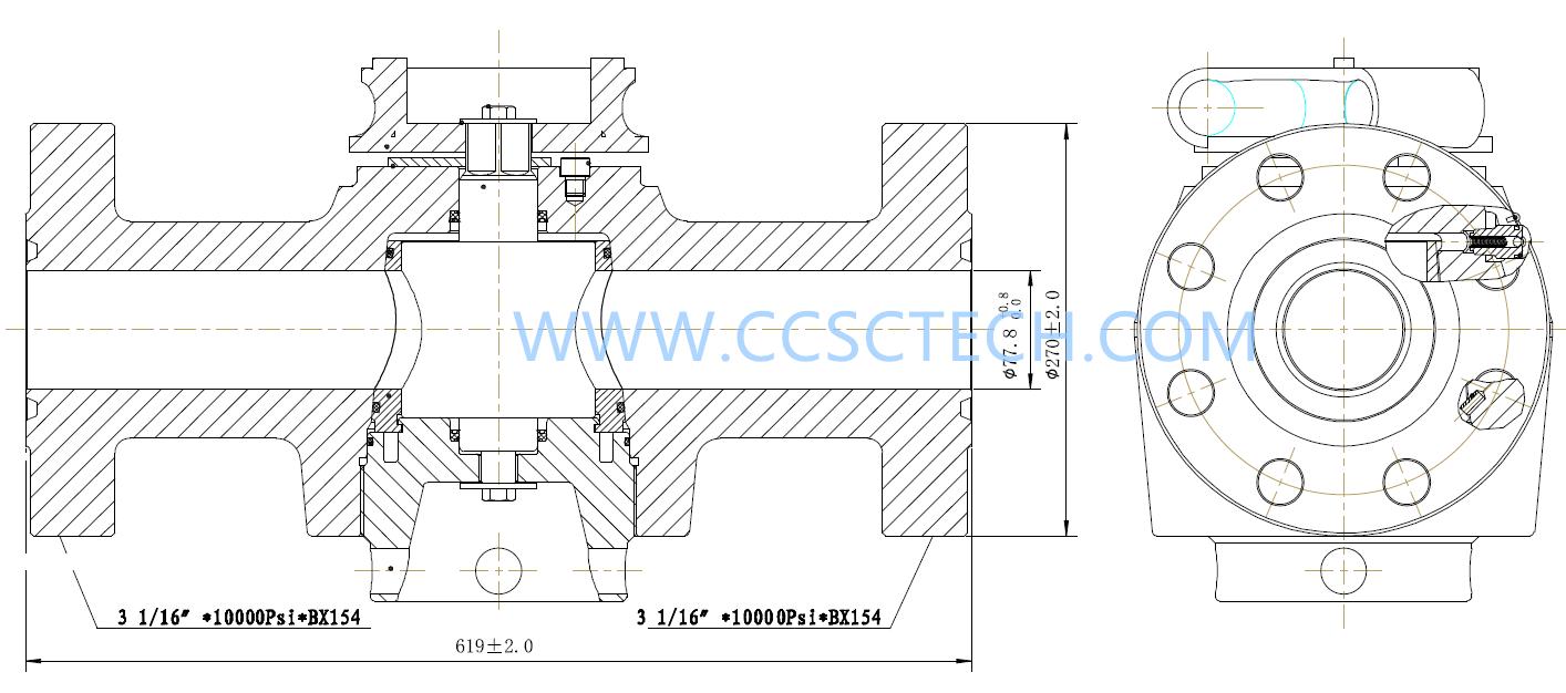 3-1-16 10K flanged wellhead plug valve-3-1-16 10K flanged