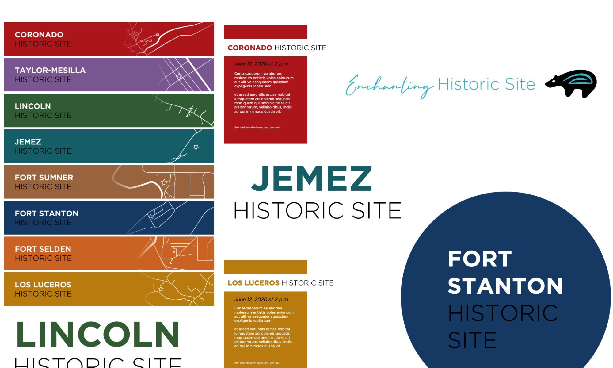 Social media branding samples for New Mexico Historic Sites