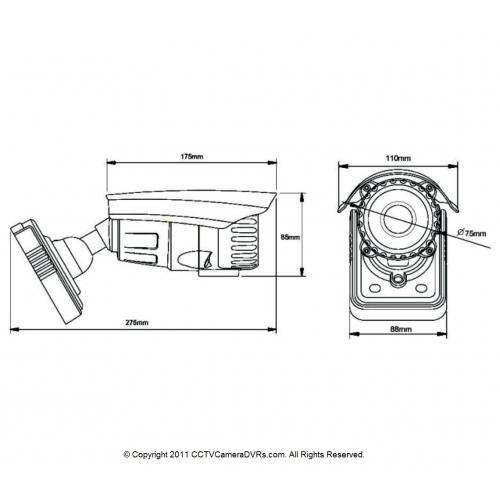 Pixim Seawolf 690HTVL-E Resolution 9-22mm IR Range 180FT