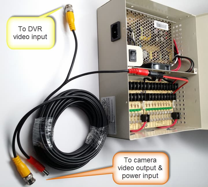 cctv dvr wiring diagram 2007 polaris predator 500 premade siamese coax cable guide for analog cameras hd using cables with a multi camera power supply box