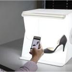 Foldio: Portatile Foto studio e Illuminazione Box, scatola chiara pieghevole per Smartphone Fotografia [Doppio Led Strip]
