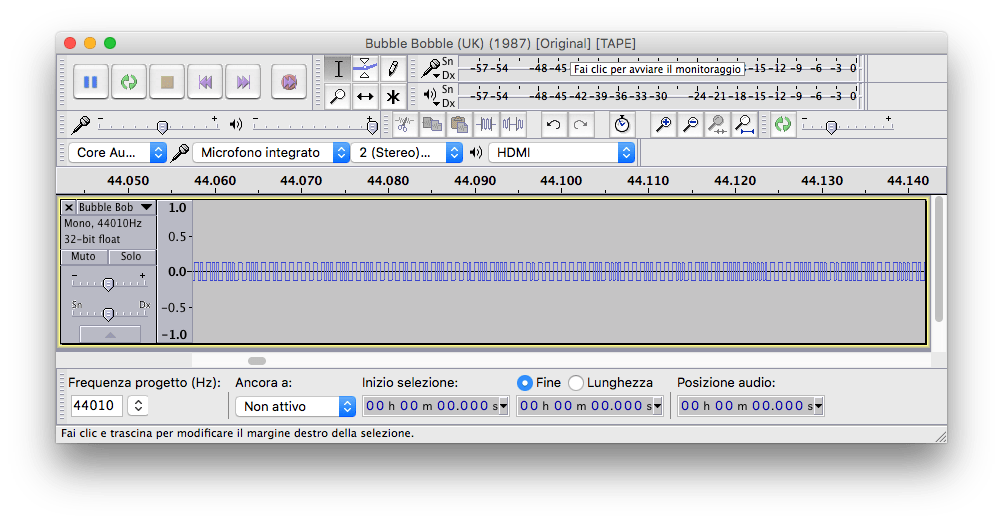 Audacity file AU Bubble Bobble