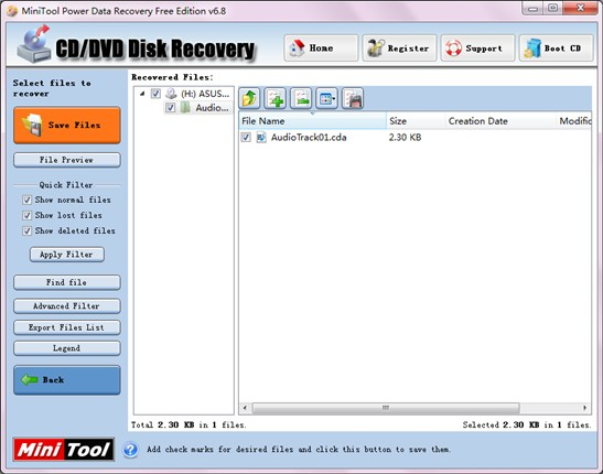 Recover lost files in CD2
