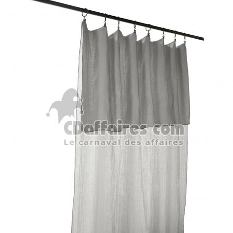 rideau ajustable 8 anneaux pince gaze de coton 140 x 300 cm gris clair cdaffaires