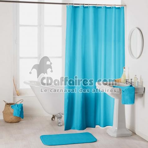 rideau de douche avec crochets 180 x 200 cm polyester uni essencia turquoise cdaffaires