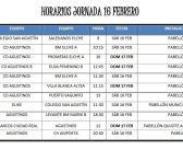 📆 Agenda |⌚️ Horarios del fin de semana del 16 y 17  de febrero