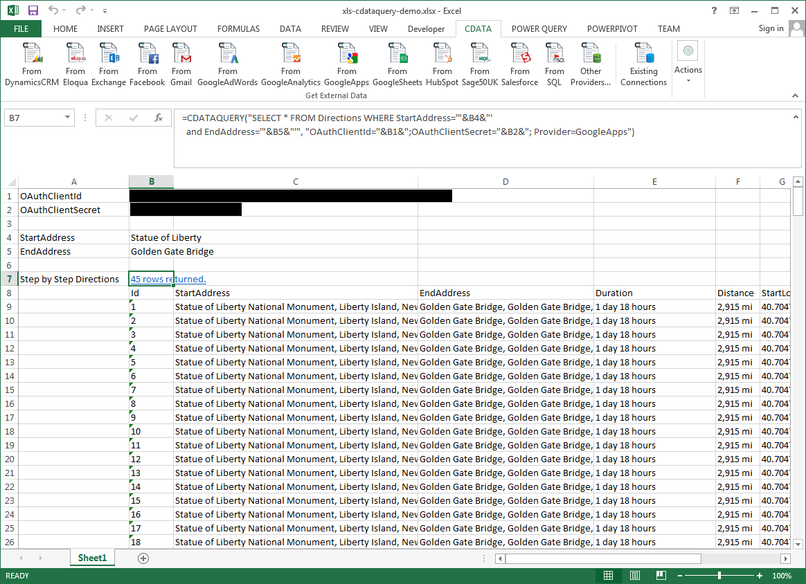 Excel Spreadsheet Automation with the CDATAQUERY Formula