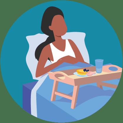 Illustratie: zieke vrouw in bed met dienblad vol voedsel