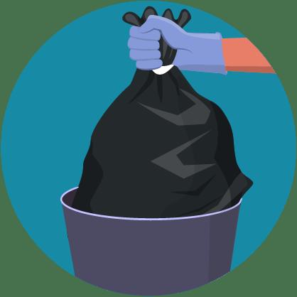 Illustratie: gehandschoende hand die afval in bleek afval weggooit