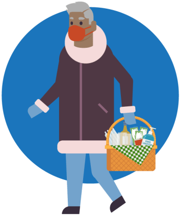 A person is shown wearing a mask and carrying a basket filled with food and a bottle of hand sanitizer.