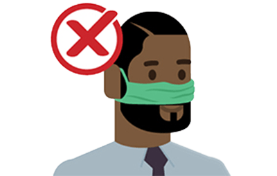 man with mask on face but without his mouth covered