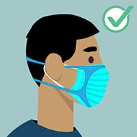 Man wearing blue facemask