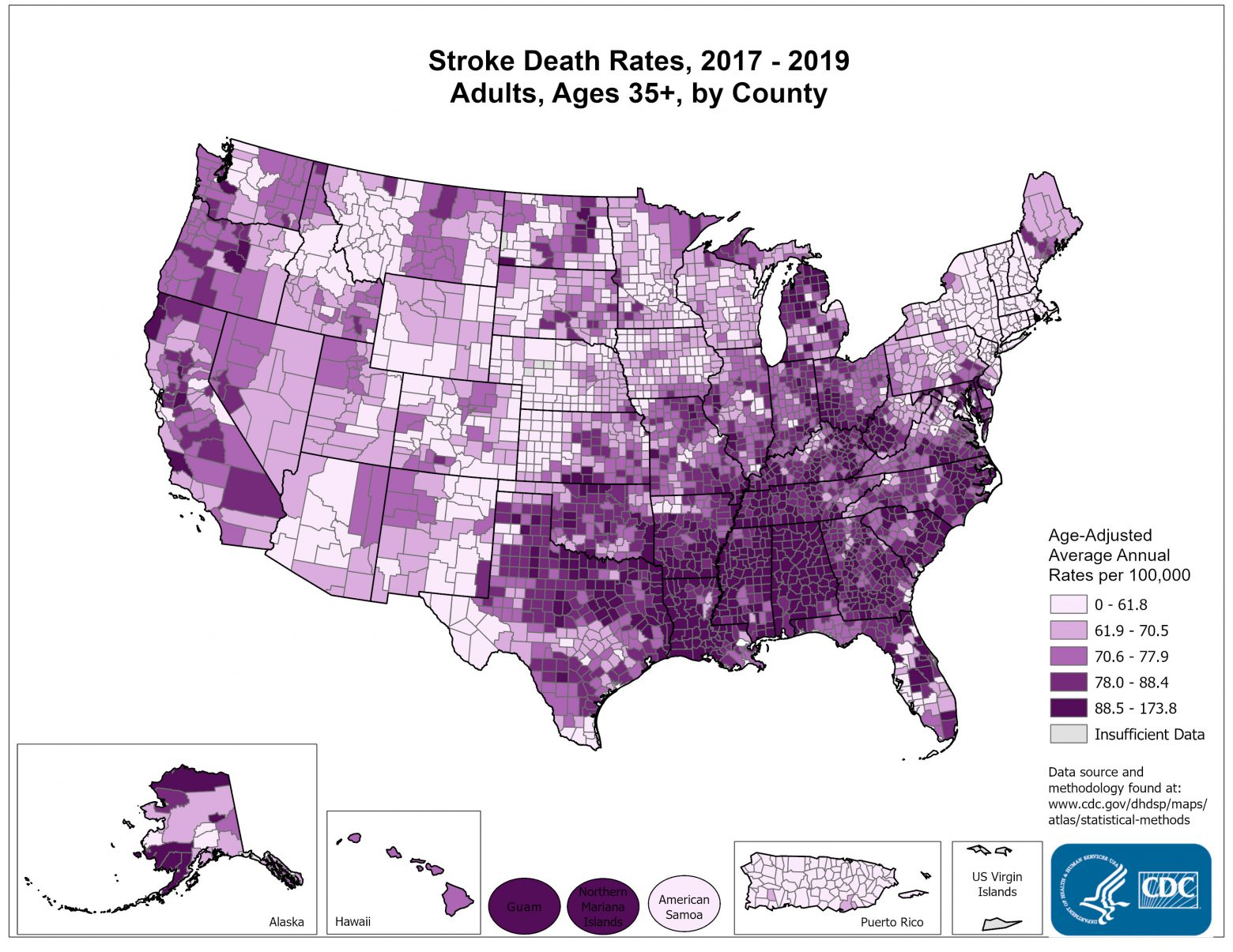 National Map Of Stroke Death Rates Total PopulationMaps
