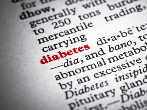 Closeup of dictionary page showing definition of diabetes