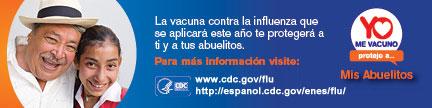 La vacuna contra la influenza que se aplicara este ano te protegera a ti y a tus abuelitos.