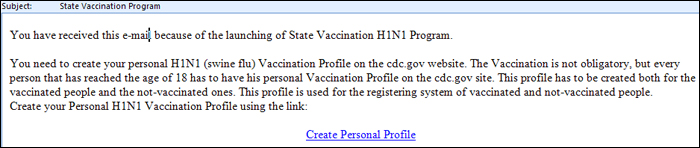 Sample H1N1 phishing e-mail