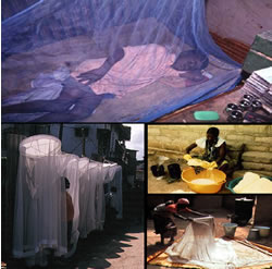 insecticide-treated bed nets on sale; being retreated; and person sleeping under net.