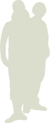 diverse couple silhouette