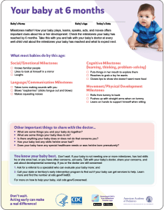 picture of the six month milestone checklist also training module watch me learn signs act early ncbddd rh cdc