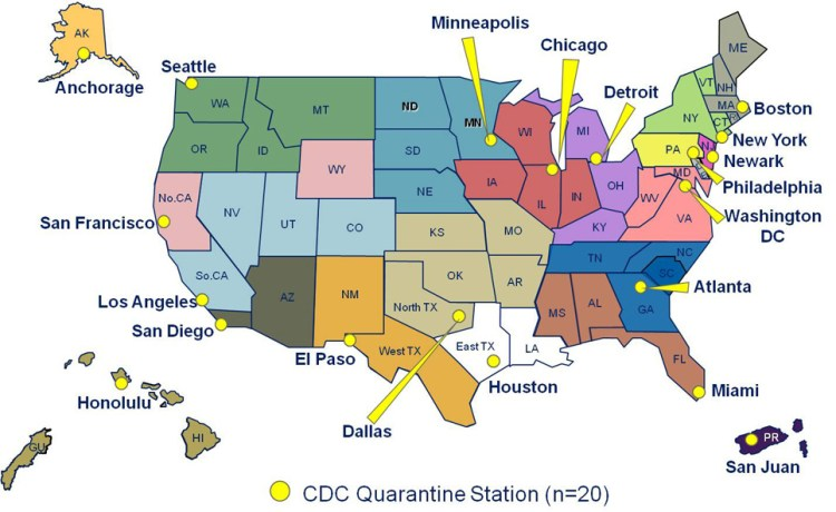 Large Map | US Quarantine Stations | Quarantine and ...
