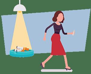 kül tablasından uzaklaşan kadın