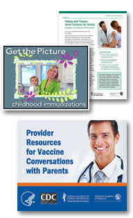 Public Service Announcements, Immunization Baby Book, and print ads