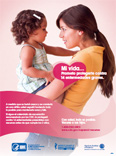 Spanish-language poster with mom holding child