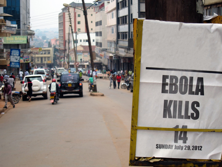 A photo in Africa stating Ebola kills 14