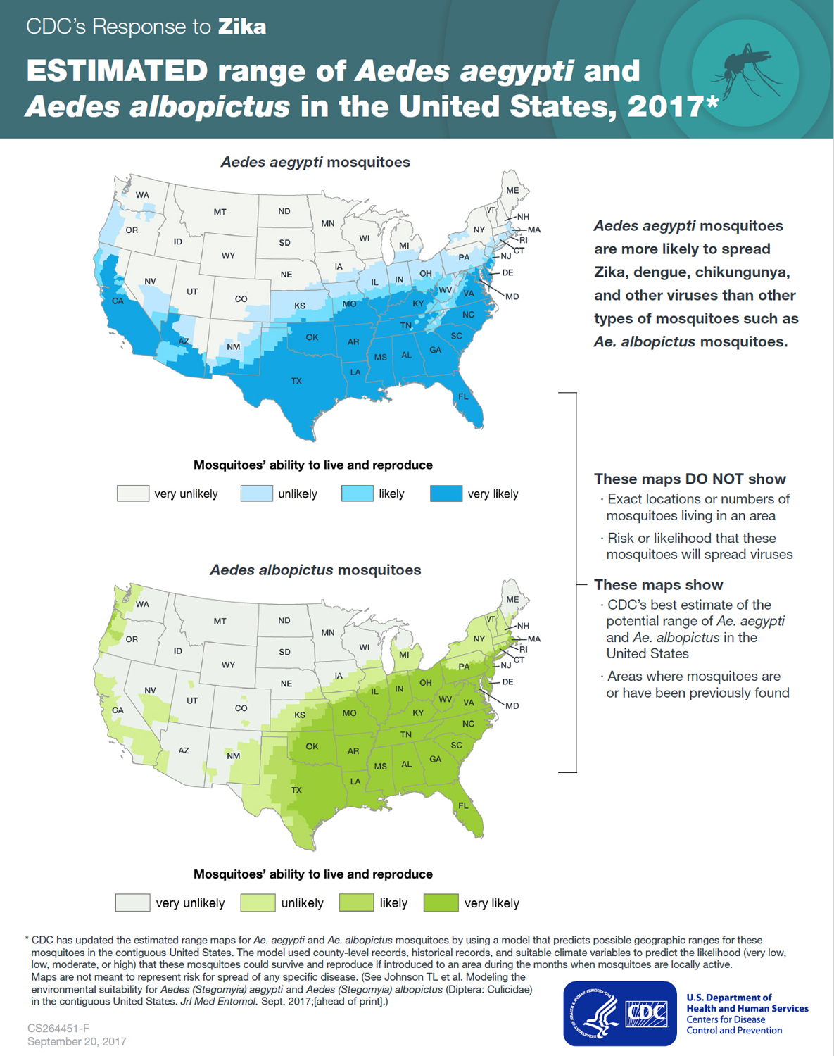 Graphic: Estimated range of Aedes aegypti and Aedes albopictus in the United States, 2016*