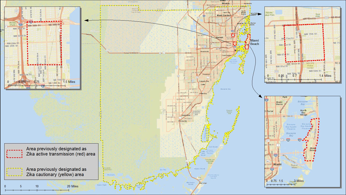 alt=Area in Miami, FL where Zika virus is being spread by mosquitoes
