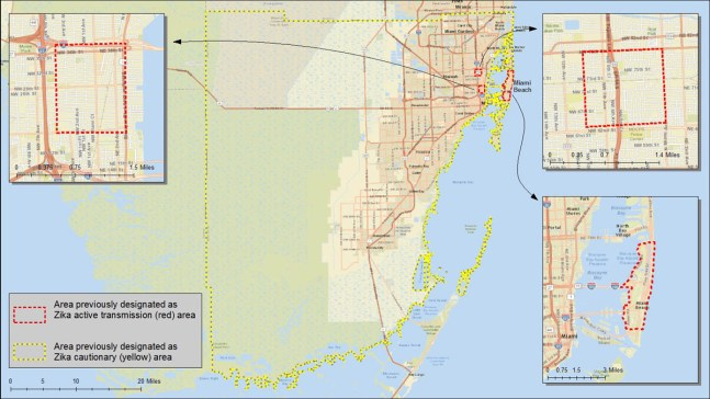 Areas in Miami, FL where Zika virus is being spread by mosquitoes