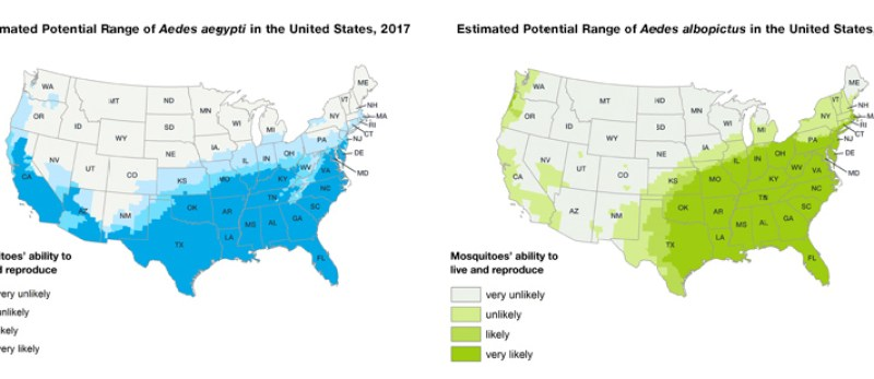 The prevelance of the Aedes Mosquiotes across the U.S