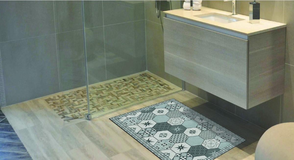 tapis vinyle carreaux de ciment
