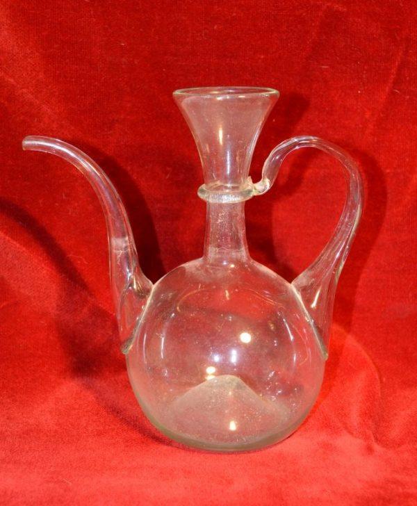 Huilier ancien XIX siècle, en verre blanc soufflé