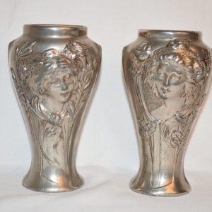 Georges Flamand ( 1895 à 1925): Paire de vases art nouveau