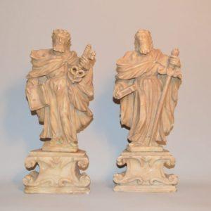 Paire de statues en albâtre représentent les apôtres Saint Pierre et Saint Paul - Italie XVIIe siècle