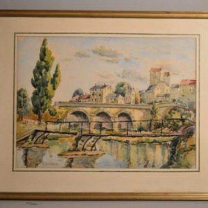 Alfred LOMBARD (1884-1973): Pont sur la rivière