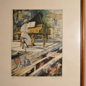 "Daniel AUTHOUART (1943): ""Sonate"" Lithographie couleurs"