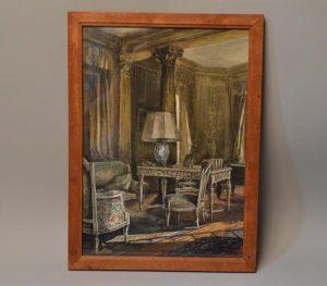 Tableau scène d'intérieur dans un décor Louis XVI
