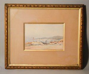 Joseph GUITTON (1849-1911): Tableau aquarelle paysage bort de mer