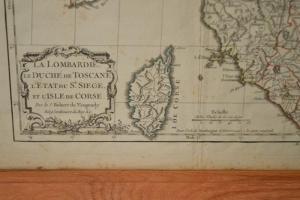 Gravure: La Lombardie, Le Duché de Toscane, L'Etat du St. Siege, et L'Isle de Corse - 1778