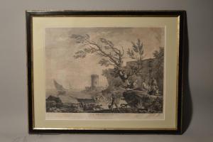 Gravure : vue proche de Gênes par Jean Godefroy d'après Joseph Vernet
