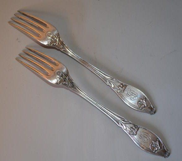 fourchettes en argent Minerve & orfèvrerie Paul Devaux - Art Nouveau