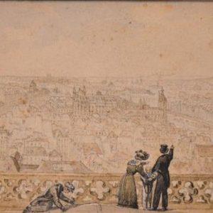 Dessin Aquarelle XIX Siècles - Vue de Paris cathédrale Notre-Dame