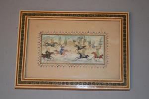 Miniature Persane - Perse sur Plaque en os - cadre en marqueterie